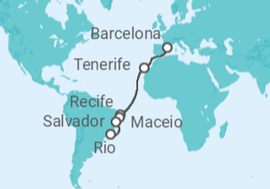 Spain, Canary Islands, Brazil Cruise itinerary - Costa Cruises